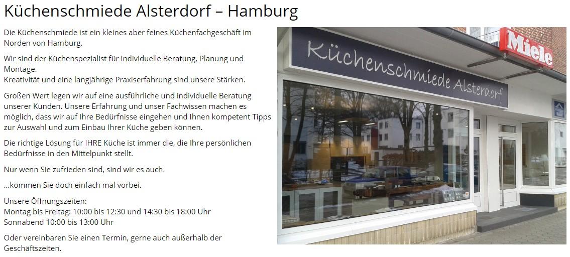 Küchenstudio 19258 Gresse - KüchenSchmiede Alsterdorf - Heiner Ahrens - Nutzen Sie unser Kontaktformular: